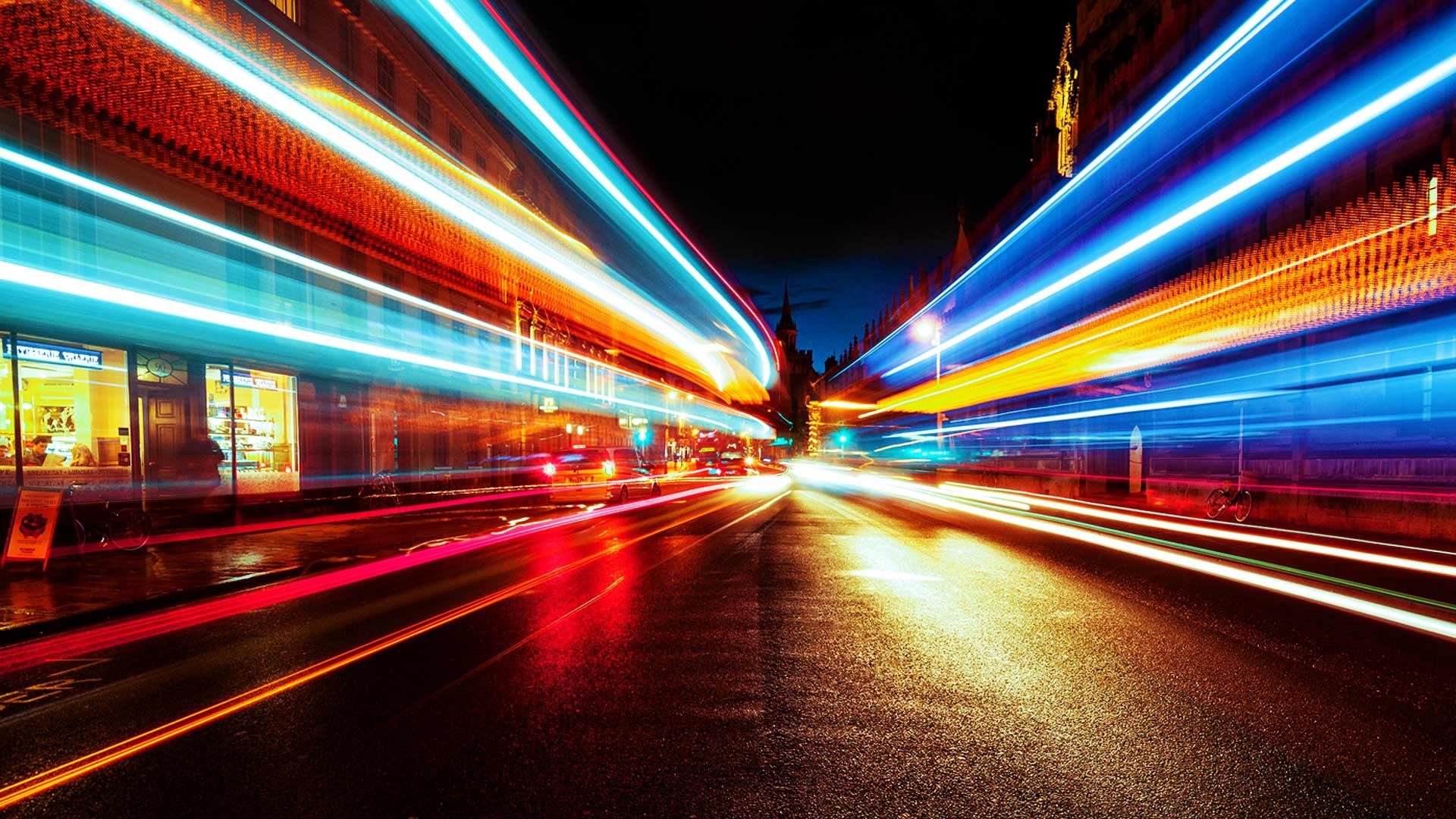 Long exposure city road at night