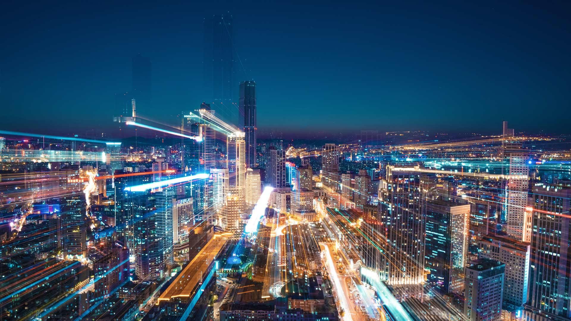 Long exposure city view