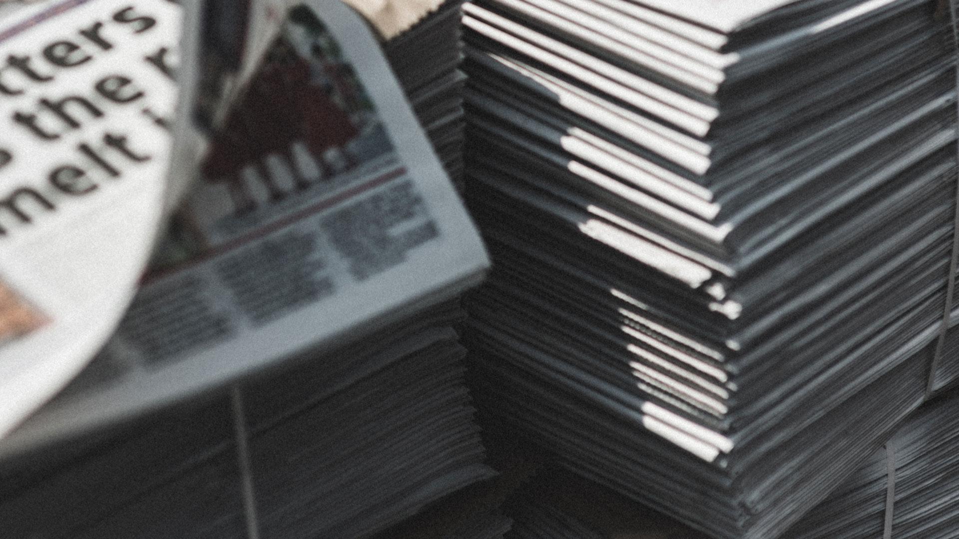 Stacks of newspapers
